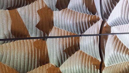 Más arte que tecnología. Una imagen de primer plano de los paneles acústicos.